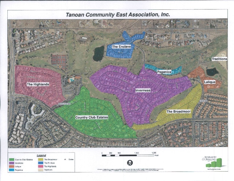Color Map of Tanoan East with Neighborhood Labels